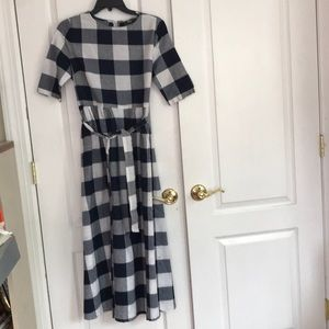 Navy and White Checkered Dress
